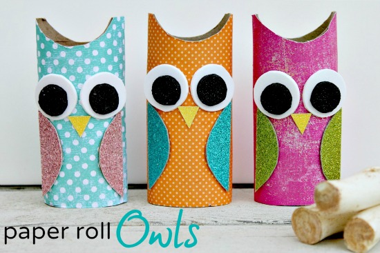 Owl paper roll craft for Crafts to make out of toilet paper rolls