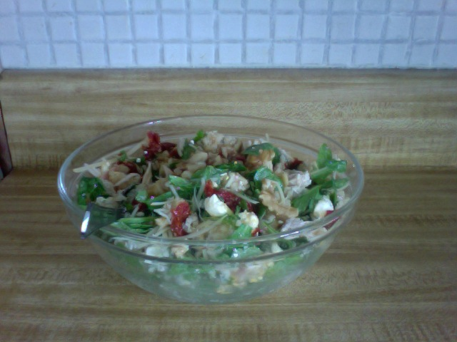 Delicious Summer Salad With Arugula, Sun Dried Tomato, Chicken, and Rice