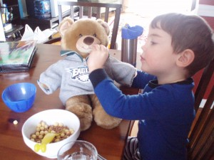Sometimes you have to feed the stuffed animals too!