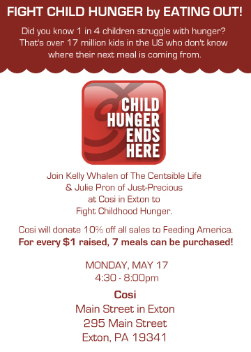 Dine out for Hunger at Cosi in Exton 5/17