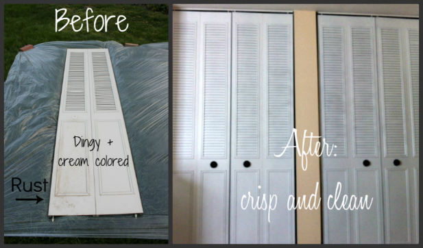 Spray paint closet door makeover for 21 for How to spray paint doors