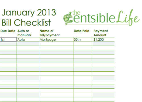 Download the Bill Checklist Template .