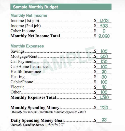 McDonald's Sample Budget