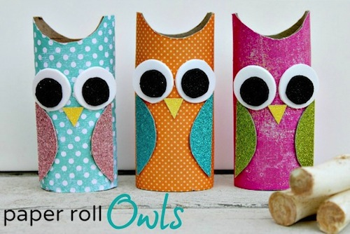 Owl paper roll craft for Toilet paper tube owls