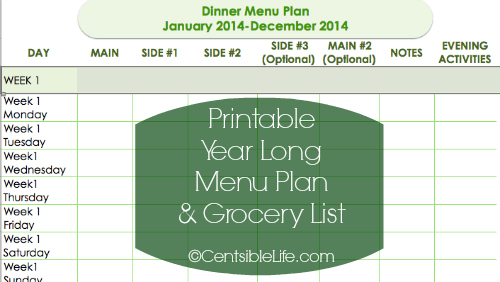 2014 Meal Plan and Printables – Menu Planning Template