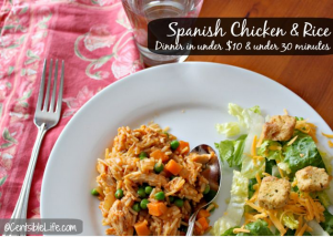 Spanish Chicken and Rice dinner in 30 minutes for under $10