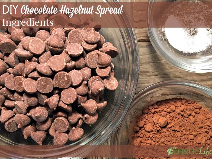 DIY Chocolate Hazelnut spread ingredients