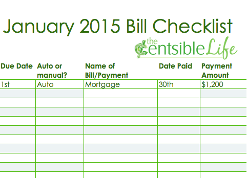 Yearly Bill Printables | New Calendar Template Site