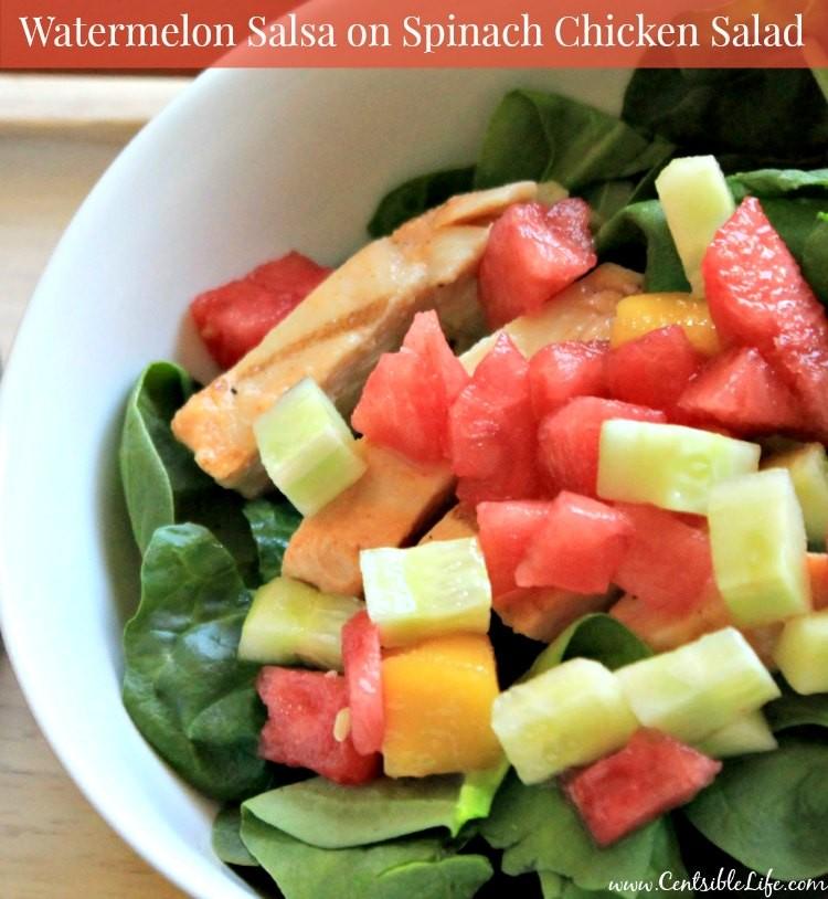 Watermelon Salsa on Spinach Chicken Salad