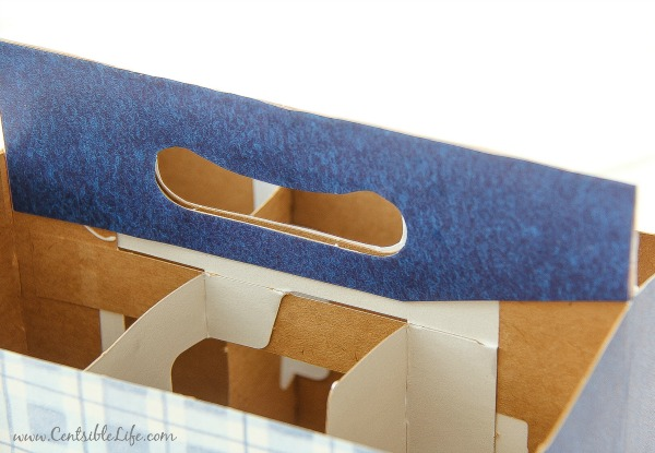 Hot to make a picnic utensil caddy from a drink carton for 4th of July celebrations | centsiblelife.com