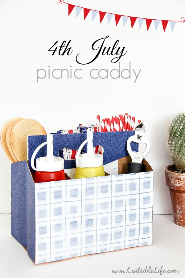 Make a patriotic picnic caddy out of a cardboard drink holder for your 4th of July celebrations | centsiblelife.com