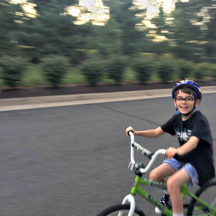 Riding his bike so fast