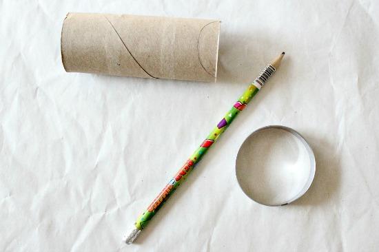 Cut toilet paper rolls