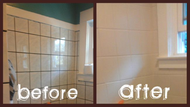 Bathroom Makeover In Days - Painting bathroom tile before and after